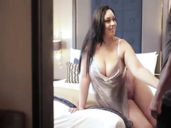 Curvy sexwife gets ir creampie as 'er husband tapes