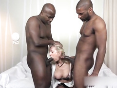 French blonde mature wife gets DP'ed by two BBC's